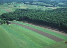 Aerial view of farm and woodland