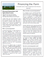 Law bulletin on personal guarantees and agricultural loans