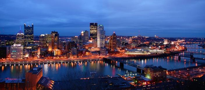 Photo of an aerial shot of Memphis Tennessee at night.