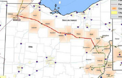 Rover Pipeline's route across Ohio