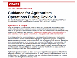 Guidance for Agritourism Operators During COVID-19