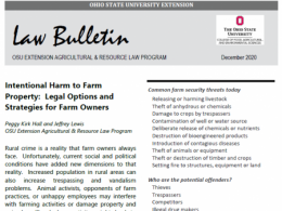 Law bulletin on Intentional Harm to Farm Property