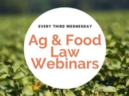 """Every Third Wednesday Ag & Food Law Webinars"" logo."